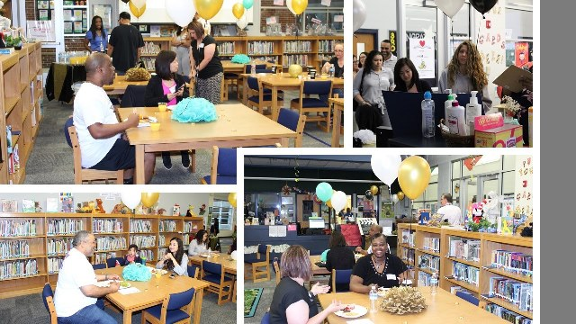 Montage of parents at a breakfast with Singing students.