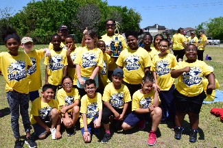 Mrs. Henry's class with trophy