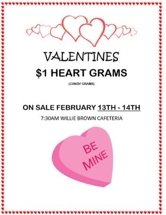 Valentine's Heart Grams graphic with information about the sale